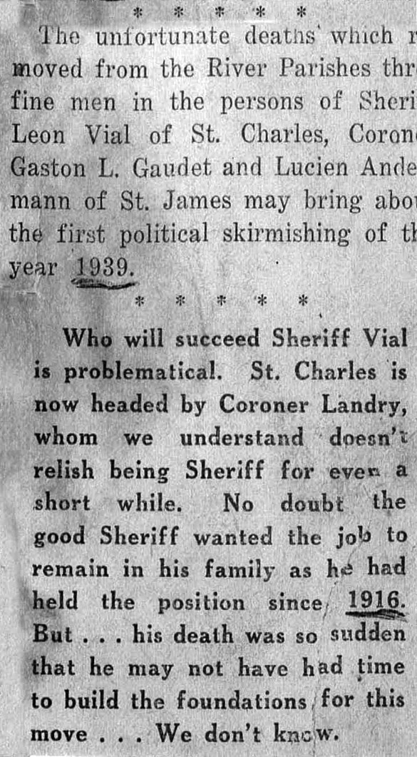 Newspaper Account of Sheriff\'s Death