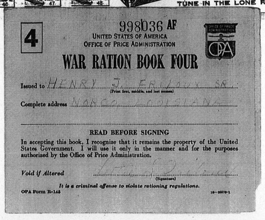 War Ration Book