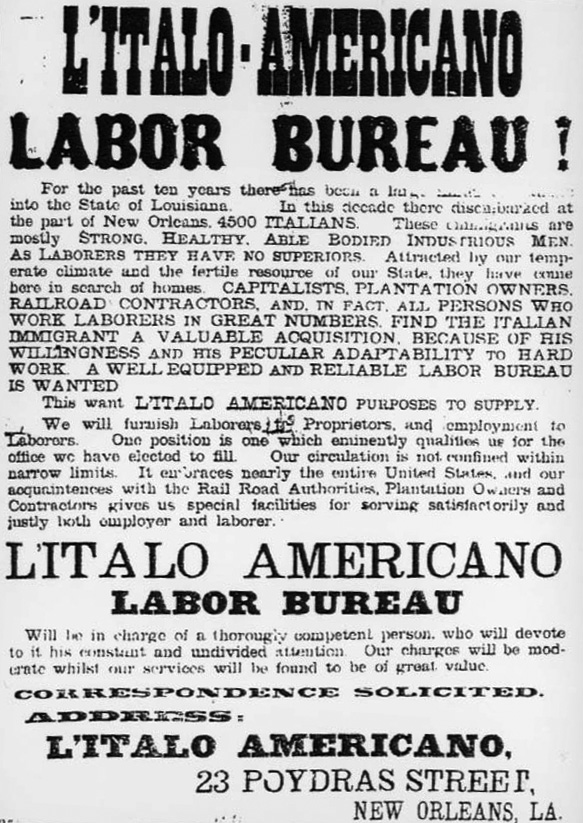Italian Laborers Advertisement