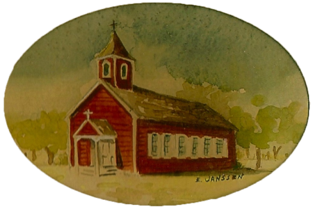 The Little Red Church Painting - Image