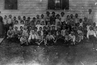 Des Allemands' first public school class picture.